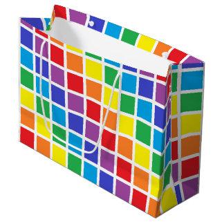 虹の正方形 ラージペーパーバッグ