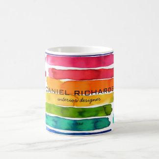 虹の水彩画のインテリア・デザイナーの名刺 コーヒーマグカップ