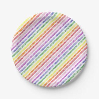 虹の水彩画のストライプパターン ペーパープレート
