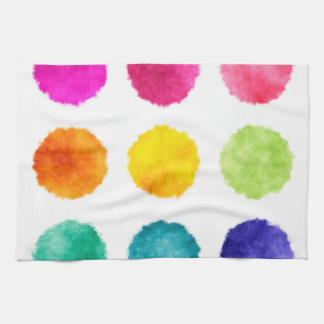 虹の水彩画の点 お手拭タオル