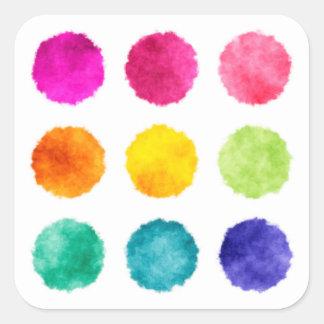 虹の水彩画の点 スクエアシール