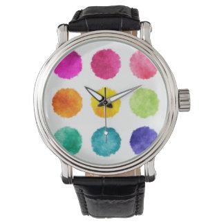 虹の水彩画の点 腕時計