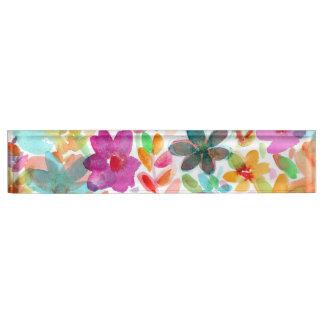 虹の水彩画の開花のゆとりのアクリルのネームプレート