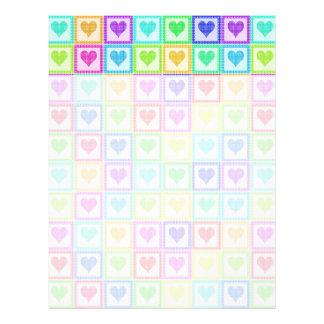 虹の水玉模様のハートパターン レターヘッド