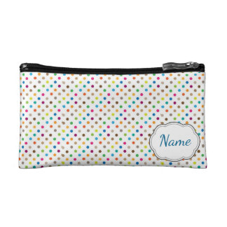 虹の水玉模様の名前入りな化粧品のバッグ コスメティックバッグ