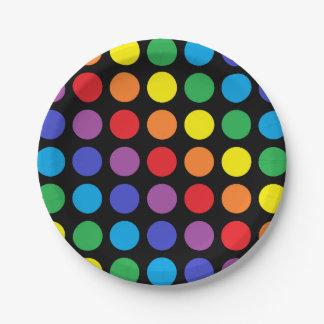 虹の水玉模様の黒の紙皿 ペーパープレート