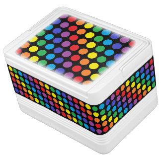 虹の水玉模様の黒 IGLOOクーラーボックス