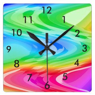 虹の波 スクエア壁時計