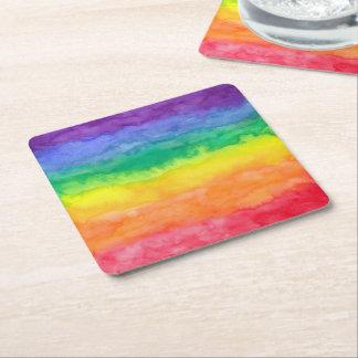 虹の洗浄紙のコースター スクエアペーパーコースター