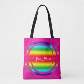 虹の渦巻く円のピンク トートバッグ