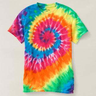 虹の渦巻の人の螺線形の絞り染めのTシャツ Tシャツ