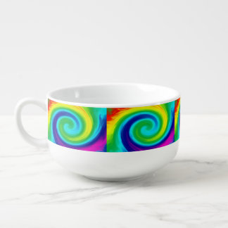 虹の渦巻の抽象美術のデザイン スープマグ