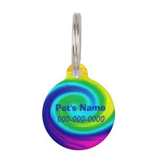 虹の渦巻の抽象美術のデザイン ペット ネームタグ