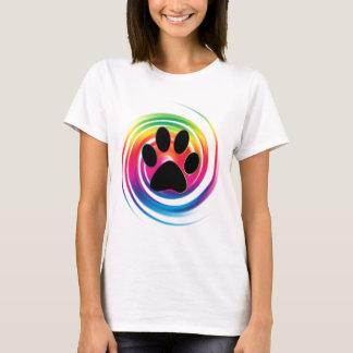 虹の渦巻の足のプリント Tシャツ