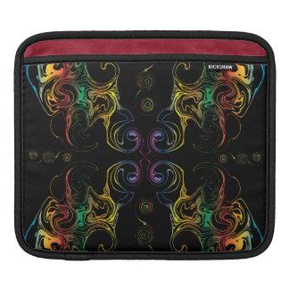 虹の渦巻の黒のiPadの袖 iPadスリーブ