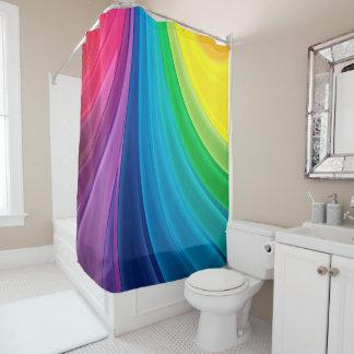 虹の渦巻パターンシャワー・カーテン シャワーカーテン