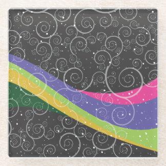虹の渦巻 ガラスコースター