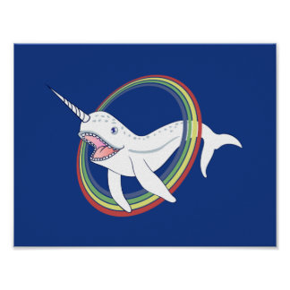 虹の漫画が付いているかわいい角Narwhal ポスター