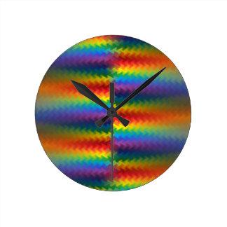 虹の火の時計の列 ラウンド壁時計