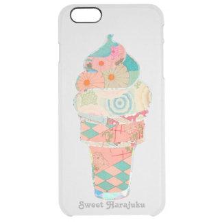 虹の甘いHarajukuのカスタードアイスクリームのピンクの円錐形 クリア iPhone 6 Plusケース