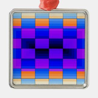 虹の目の錯覚スペクトル色のチェス盤 メタルオーナメント