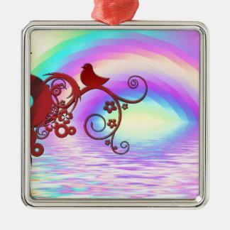 虹の空パターンデジタル芸術の平和愛運命 メタルオーナメント