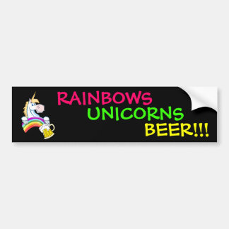虹の端に金ゴールドのパイント(ユニコーンと) バンパーステッカー