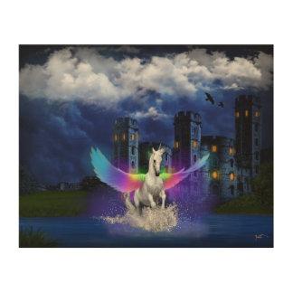 虹の翼とのユニコーン ウッドウォールアート