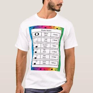 虹の背景のワイシャツの音楽ノート Tシャツ