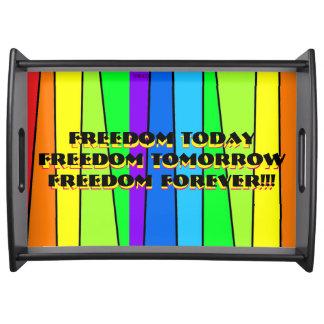 虹の自由の旗-黒い大きいトレイ トレー