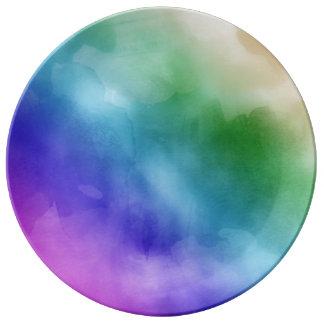 虹の色相の水彩画の雲 磁器プレート