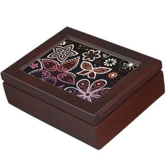 虹の花および虫のデザイン ジュエリーボックス