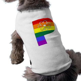 虹の花のイニシャルP 犬用袖なしタンクトップ