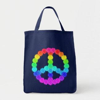虹の花のピースサイン トートバッグ
