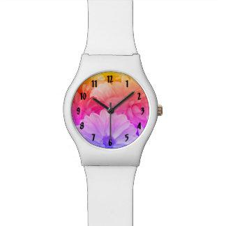 虹の花柄の抽象芸術のダリアの庭の花 腕時計