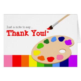 虹の芸術家のパレットのサンキューカード カード
