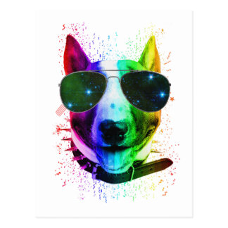虹の落書きのペンキのはねのブルテリア犬 ポストカード
