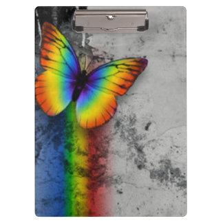 虹の蝶灰色の黒いパターンプリント クリップボード