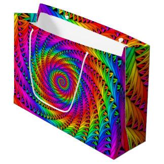 虹の螺線形のギフトバッグ ラージペーパーバッグ