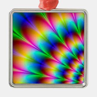 虹の螺線形の目の錯覚 シルバーカラー正方形オーナメント