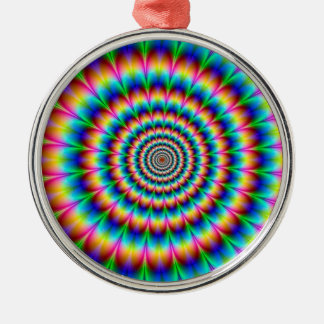 虹の螺線形の目の錯覚 メタルオーナメント