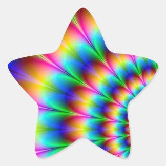 虹の螺線形の目の錯覚 星シール