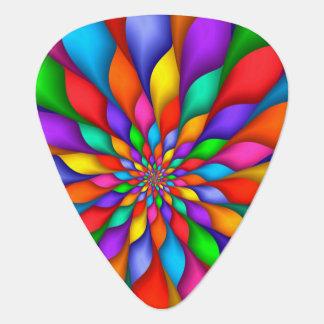 虹の螺線形の花びらの花のギターピック ギターピック