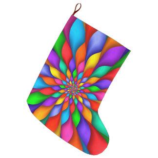 虹の螺線形の花びらの花のクリスマスのストッキング ラージクリスマスストッキング