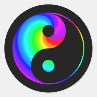 虹の螺線形の陰陽のステッカー ラウンドシール