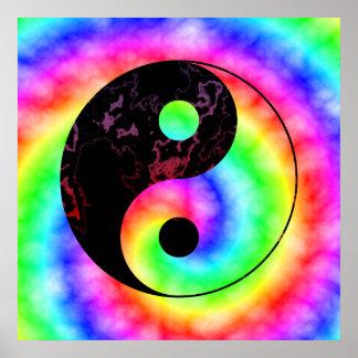 虹の螺線形の陰陽ポスター ポスター