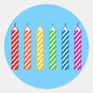 虹の誕生日の蝋燭 ラウンドシール