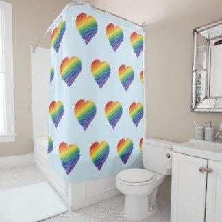 虹の走り書きのハートのシャワー・カーテン シャワーカーテン