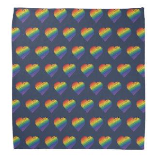 虹の走り書きのハートのバンダナ バンダナ