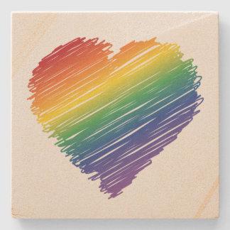 虹の走り書きのハートの正方形の石のコースター ストーンコースター